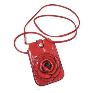 Red Rose Patent Leather Card Cell Case Carrier Bag